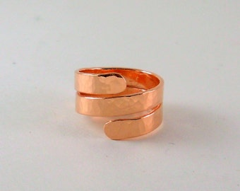 Copper Wrap Ring • Spiral • Adjustable • Hammered • Arthritis Jewelry • Statement Ring • Urban Jewelry • 7th Anniversary • Rustic • Gift