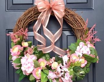 Pink spring wreath for front door, pink summer wreath for front door, pink green door wreath, ranunculus wreath, hydrangea wreath, wreaths