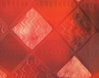 "13.9""w. x 36.2""l. Vintage kimono silk fabric-red diamond 2873I"