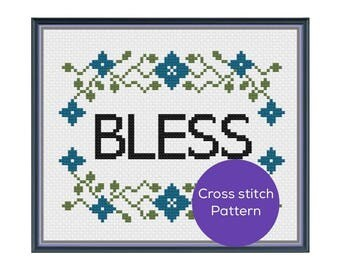 Bless Cross Stitch Pattern