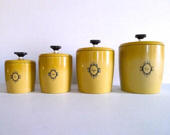 Vintage West Bend Harvest Gold Canister Set