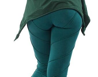 YOGA PIXIE LEGGINGS, teal green psy trance leggings, festival pixie leggings, leaf leggings, yoga clothing, psytrance boho hippy leggings