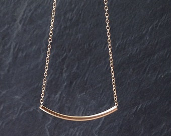 Gold bar necklace, dainty gold choker necklace, curved tube pendant, gold chain necklace, minimal gold layer necklace, gold fill under 25