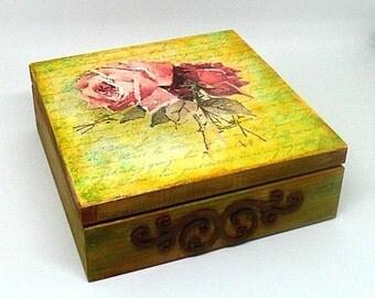 Wooden decoupage box, hand painted box , jewelry box  , keepsake box, vintage roses