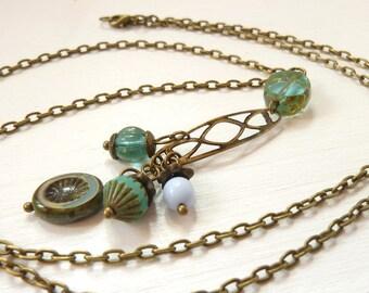 Perlenspiel zarte vintage Halskette lang böhmische Glasperlen