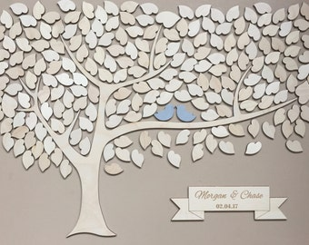 Wedding Guest Book Alternative 3D Wedding Guestbook Tree Unique Wedding Guestbooks Sign w/ Engraved Names Wedding Keepsake w/ Hearts to Sign