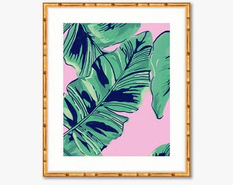 Pink Palms -- Watercolor Print -- Home Decor