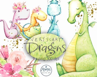 Dragons clipart, Watercolor, Boys clipart, Girls clipart, cute animals , watercolor, hand painted, floral,kids party invitation,cute dragons