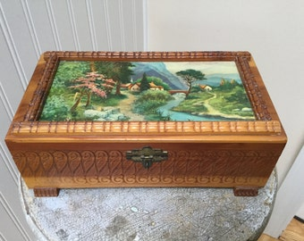 Vintage Jewelry Box/Cedar/Village Picture on Lid and Mirror Inside/Carved Design in Wood/Carved Feet