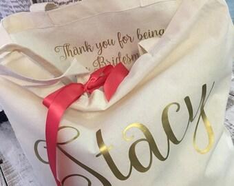 Bridal tote, bridesmaid proposal gift, bridesmaid gift, personalized tote, wedding gift, wedding tote,