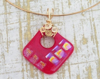 Wire-Wrapped Red & Dichroic Fused Glass Pendant