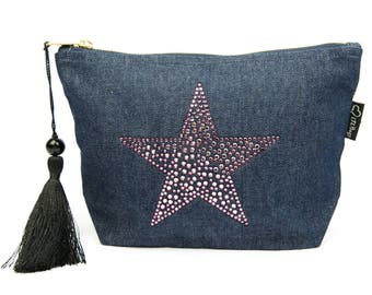 Denim Rhinestone Star Make-Up Bag, Cosmetic Bag, Toiletries Bag, Zipper Bag