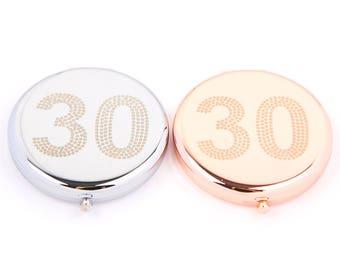 30th  Birthday Compact Mirror-Make-Up Mirror-Cosmetic Mirror-Handbag Mirror