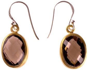 Silver earrings smoky quartz faceted oval gold-plated 925 sterling silver Stone Brown (No. OSG-53)
