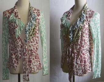 Handmade in India 90s CHAN LUU feather-light asymetrical cotton cardigan top / fits 4 - 10 / mulitcolor ruffled bohemian tunic blouse top