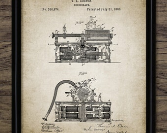 Edison Phonograph Patent Print - 1888 Phonograph Design - Thomas Edison Phonograph Invention - Single Print #2258 - INSTANT DOWNLOAD