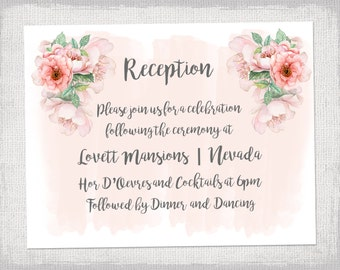 reception invite template diy printable wedding reception invitation templates blush rose pink editable invitations - Wedding Reception Invites