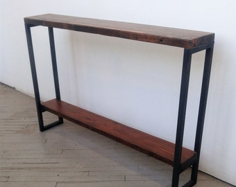 Good Reclaimed Wood Console Table   Lentini Design   Slim Handmade Entryway Table  With Shelf