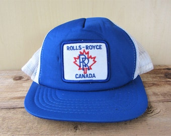 ROLLS ROYCE CANADA Original Vintage 80s Trucker Hat White Mesh Snapback Baseball Cap Luxury Car Aerospace Promo Athletic Headwear Ballcap