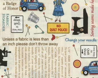 On the Go Sewing Rules Fabric C5063; Fat Quarter, Third Yard, Half Yard, or By The Yard; Row by Row 2017 - On the Go; Timeless Treasures