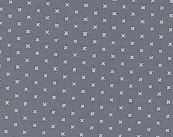 Cross Stitches - Charcoal by Lecien (31196-99) Cotton Fabric Yardage