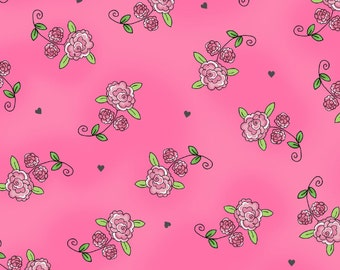 Roses - Dark Pink 1028M-22 by Henry Glass Cotton Fabric Yardage