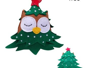 Felt Christmas Ornament. Felt Christmas Decoration. Stocking Stuffer. Owl Felt Doll - Holiday Decoration