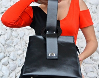 Black Leather Bag / Genuine Leather Bag / Extravagant Leather Tote / Genuine Leather Tote TLB05 / URBAN MUSE