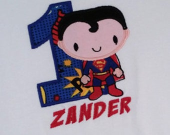 Superhero Birthday Shirt with Super Kid Superhero, Number and Embroidered Name