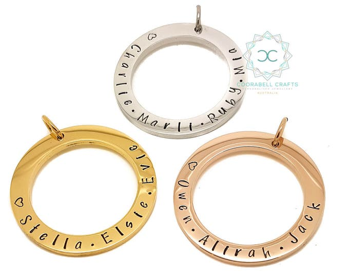 Personalised Jewellery, Personalised Necklace, Family Necklace, Gold Circle Names Pendant and Necklace, Customise Personal Family Necklace