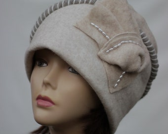 Wool Cloche Cap Felted Merino 1920s Gatsby Style Retro Women Fall Elegant Winter Statement Piece Fashion plus size hat handmade large size