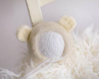 FELTED HAT TEDDY - newborn hat - felted newborn hat, teddy bear hat, newborn hat, wool hat, newborn prop, photography props, photo prop
