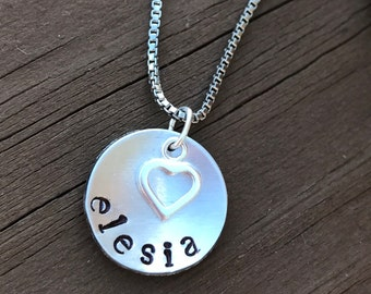 Sterling Silver Personalized Hand Stamped Name Necklace with Heart Charm