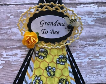 Bumble Bee Theme Baby Shower Grandma To Be Corsage Badge