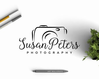 Hand drawn Photography logo, Premade Photography Logo Design, Camera logo