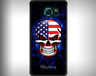 Galaxy S6 phone case with Full color custom graphics - American Flag Skull