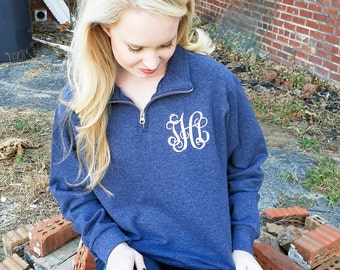 Quarter Zip Monogrammed Sweatshirt ~ 1/4 Zip Monogram Pullover Sweater ~ Gift for Her ~ Gift Under 30 (V)