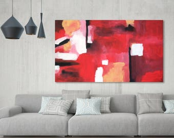 Hand-painted Large Wall Art - Custom Abstract Painting - Original Art On Canvas - Acrylic Painting on Canvas. Extra Large Red Wall Art Home