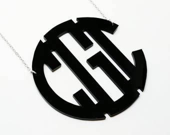 "XXL 3"" Black Acrylic Monogram Necklace"