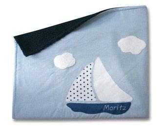 Blanket, snuggle blanket, blanket with name, boat