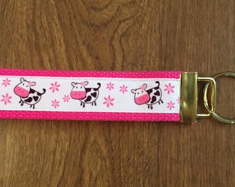 Cow Key Chain Wristlet  zipper Pull