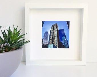 Framed Photograph of New York City, Photograph, New York City, White Frame, Framed photography, Blue Buildings