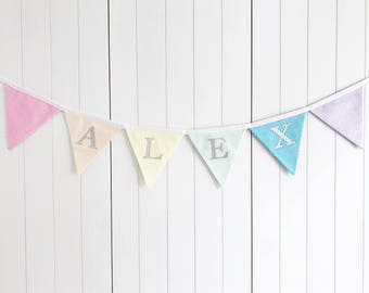 Rainbow Candy Stripe Name Banner - Name Bunting - Rainbow Name Banner - Party Banner - Party Flags - Birthday Bunting - Rainbow Bunting