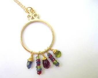 Gemstone Necklace, Gemstone Briolettes, Iolite, Rhodolite Garnet, Vesuvianite, Peridot, Ruby, Brushed Gold Link, Gold Filled Chain