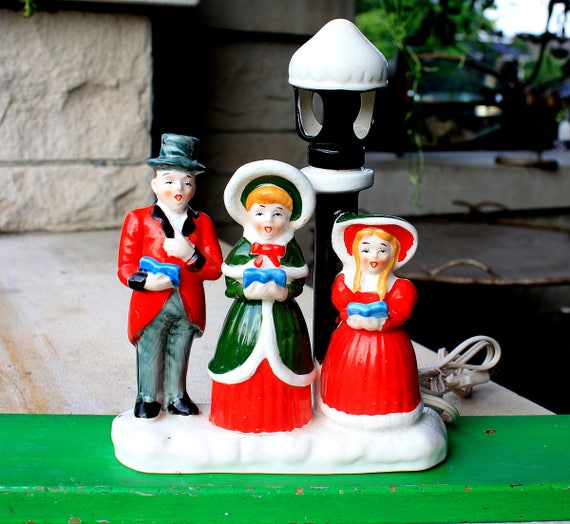 Vintage Ceramic Christmas Carolers Choir Boy And Girl: Vintage Electrified Ceramic Christmas Carolers Choir