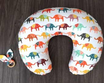 Colorful marching elephants indie boppy pillow cover with long zipper (#0270)