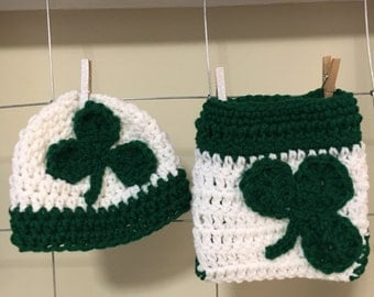 newborn St. Patrick's day hat and diaper cover baby St. Pat's day hat photo prop baby shamrock hat and diaper cover, shamrock diaper cover,