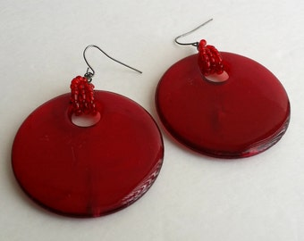 Amazing Vintage Red Lucite Large Disc Hook Dangle Earrings