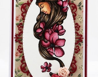 Feminine portrait woman with flowers in hair Card
