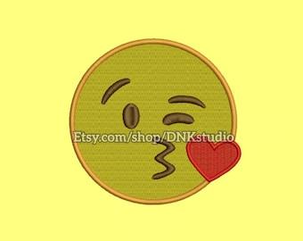 Kiss Emoji Machine Embroidery Design - 7 Sizes - INSTANT DOWNLOAD